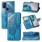 For OnePlus Nord N10 5G Butterfly Love Flower Embossed Horizontal Flip Leather Case with Bracket / Card Slot / Wallet / Lanyard(Blue)