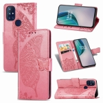 For OnePlus Nord N10 5G Butterfly Love Flower Embossed Horizontal Flip Leather Case with Bracket / Card Slot / Wallet / Lanyard(Pink)