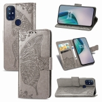 For OnePlus Nord N10 5G Butterfly Love Flower Embossed Horizontal Flip Leather Case with Bracket / Card Slot / Wallet / Lanyard(Gray)