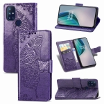 For OnePlus Nord N10 5G Butterfly Love Flower Embossed Horizontal Flip Leather Case with Bracket / Card Slot / Wallet / Lanyard(Dark Purple)