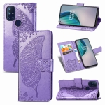 For OnePlus Nord N10 5G Butterfly Love Flower Embossed Horizontal Flip Leather Case with Bracket / Card Slot / Wallet / Lanyard(Light Purple)