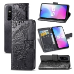 For vivo Y73s Butterfly Love Flower Embossed Horizontal Flip Leather Case with Bracket / Card Slot / Wallet / Lanyard(Black)
