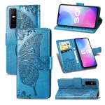 For vivo Y73s Butterfly Love Flower Embossed Horizontal Flip Leather Case with Bracket / Card Slot / Wallet / Lanyard(Blue)