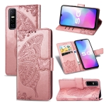 For vivo Y73s Butterfly Love Flower Embossed Horizontal Flip Leather Case with Bracket / Card Slot / Wallet / Lanyard(Rose Gold)