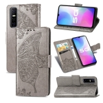 For vivo Y73s Butterfly Love Flower Embossed Horizontal Flip Leather Case with Bracket / Card Slot / Wallet / Lanyard(Gray)