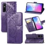 For vivo Y73s Butterfly Love Flower Embossed Horizontal Flip Leather Case with Bracket / Card Slot / Wallet / Lanyard(Dark Purple)