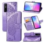 For vivo Y73s Butterfly Love Flower Embossed Horizontal Flip Leather Case with Bracket / Card Slot / Wallet / Lanyard(Light Purple)