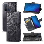 For vivo Y50 Butterfly Love Flower Embossed Horizontal Flip Leather Case with Bracket / Card Slot / Wallet / Lanyard(Black)