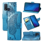 For vivo Y50 Butterfly Love Flower Embossed Horizontal Flip Leather Case with Bracket / Card Slot / Wallet / Lanyard(Blue)