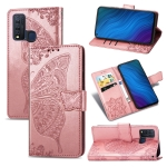 For vivo Y50 Butterfly Love Flower Embossed Horizontal Flip Leather Case with Bracket / Card Slot / Wallet / Lanyard(Rose Gold)