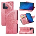 For vivo Y50 Butterfly Love Flower Embossed Horizontal Flip Leather Case with Bracket / Card Slot / Wallet / Lanyard(Pink)