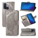For vivo Y50 Butterfly Love Flower Embossed Horizontal Flip Leather Case with Bracket / Card Slot / Wallet / Lanyard(Gray)