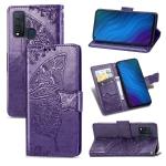 For vivo Y50 Butterfly Love Flower Embossed Horizontal Flip Leather Case with Bracket / Card Slot / Wallet / Lanyard(Dark Purple)