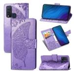 For vivo Y50 Butterfly Love Flower Embossed Horizontal Flip Leather Case with Bracket / Card Slot / Wallet / Lanyard(Light Purple)