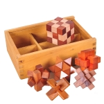 6 PCS / Set Adult Wooden Educational Intelligence Toys Classical Toys Kongming Lock Luban Lock Wooden Box