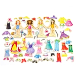 Girl Cute Magnetic Dressing Educational Toy 63 PCS Play House Wooden Toy(Play Time)