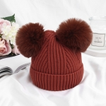 MZ6936 Double Ball Baby Hat Autumn And Winter Warm Knitted Hat, Size: One Size(Iron Embroidery Red)