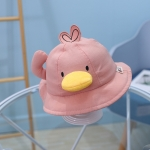 MZ8843 Little Yellow Duck Shape Children Basin Hat Baby Fisherman Hat, Size: Around 48cm(Skin Pink)
