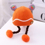 MZ9933 Mushroom Pattern Baby Woolen Hat Autumn and Winter Baby Cotton Warm Knitted Hat with Double Braid, Size: One Size(Orange)