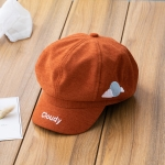 MZ8223 Weather Embroidery Pattern Children Beret Sun Hat Baby Duck Tongue Hat, Size: About 52CM(Orange)