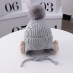 C0201 Three-dimensional Bear Ear Protection Cap Children Knitted Hat Winter Warm Woolen Hat, Size: One Size(Gray)