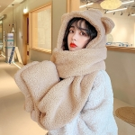 Ladies Autumn and Winter One-piece Plush Warm Bear Hat Scarf, Size: One Size(Three-purpose (Khaki) )