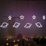 Neon Curtain Lights Creative Flying Saucer Star Lights String Christmas Room Decoration Light, EU Plug(Colorful Light)