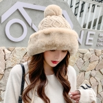 Autumn and Winter Ladies Cotton and Cashmere Skullcap Three Fur Balls Cute Plus Velvet Thickening  Pure Color Knitted Hat, Size: Free Size(Beige)