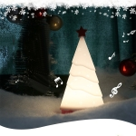 Silicone Night Light Christmas Tree with Music Holiday Decorative Lamp(White Light)