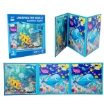 KBX-87 Children Education Cartoon 2 in 1 Magnetic Picture Puzzle Toy(Underwater World)