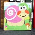 5 PCS KBX-017 Children Wooden Picture Puzzle Baby Early Education Toys(Snails)