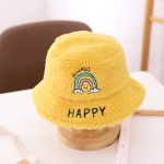 Children Baby Fisherman Hat Rainbow Lamb Wool Letter Basin Hat Warm Ear Protection Hat, Size: Recommended For 1-3 Years Old(Yellow)