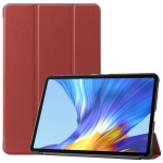 For Huawei Honor V6 / MatePad 10.4 inch Universal Caster Pattern Horizontal Flip Tablet PC Protective Leather Case with Tri-fold Bracket & Sleep Function(Wine Red)