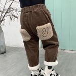 Winter Children Cartoon Rabbit Pattern Corduroy Warm Trousers (Color:Brown Size:90cm)