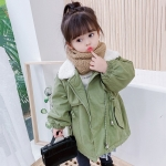 Autumn and Winter Girls Mid-length Thickened Zipper Lapel Trench Coat (Color:Green Size:130cm)