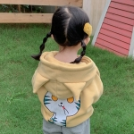 Autumn and Winter Girls Cute Cartoon Cat Pattern Plus Velvet Ears Hooded Sweater Jacket (Color:Beige Size:110cm)