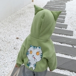 Autumn and Winter Girls Cute Cartoon Cat Pattern Plus Velvet Ears Hooded Sweater Jacket (Color:Green Size:100cm)
