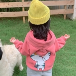 Autumn and Winter Girls Cute Cartoon Cat Pattern Plus Velvet Ears Hooded Sweater Jacket (Color:Pink Size:120cm)