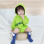 Baby Casual Long Sleeve Triangle Romper Cute Big Eyes Loose Romper (Color:Green Size:80cm)