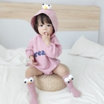 Baby Casual Long Sleeve Triangle Romper Cute Big Eyes Loose Romper (Color:Pink Size:66cm)