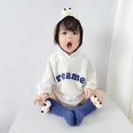 Baby Casual Long Sleeve Triangle Romper Cute Big Eyes Loose Romper (Color:White Size:66cm)