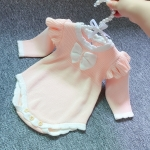 Regular Style Autumn and Winter Baby Girls Bow-knot Knitted Triangle Romper (Color:Pink Size:90cm)