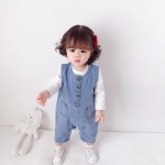 Children Soft Denim Jumpsuit Outing Romper (Color:Blue Size:66cm)
