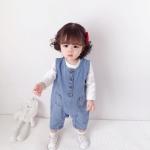 Children Soft Denim Jumpsuit Outing Romper (Color:Blue Size:73cm)
