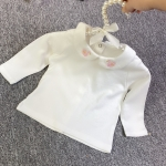Baby Girl Embroidery Pattern Small Lapel Bottoming Shirt Long Sleeve T-shirt (Color:Pink swan Size:80cm)