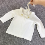Baby Girl Embroidery Pattern Small Lapel Bottoming Shirt Long Sleeve T-shirt (Color:Crown Size:90cm)