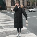 Ladies Long Slim-fit Loose Cotton Down Jacket (Color:Black Size:XL)