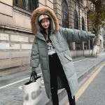 Ladies Long Slim-fit Loose Cotton Down Jacket (Color:Green Size:M)