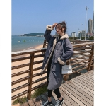 Women Loose Waist Lamb Hair Stitching Down Jacket (Color:Gray Size:S)
