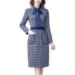 Lattice Lacing Long Sleeve OL Wrapped Hip Skirt Dress (Color:Dark Blue Size:M)